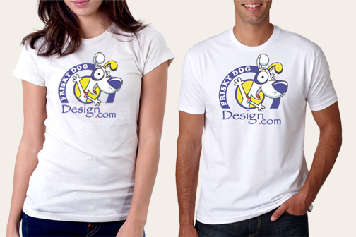 Frisky Dog Design T-Shirt Models